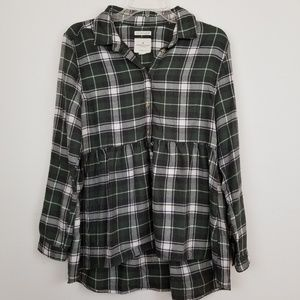 American eagle plaid popover babydoll shirt size S